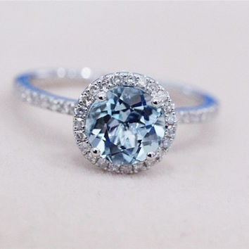7mm Blue Aquamarine Ring Solid 14K White Gold Round Aquamarine Ring Wedding Ring Diamond Engagement Ring Promise Ring