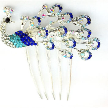 Headpiece - Royal Blue and Aqua Rhinestone Peacock Hair Comb