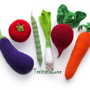 Crochet Vegetables - Small set of 6 pieces - Seasons - Eco-friendly Decoration - Centrepiece Decor - Play food - crocheted toys