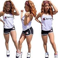 Champion tide brand female embroidery letter sexy set two-piece White