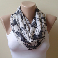 Bird Chiffon black white Infinity scarf  circle scarf loop scarf gift modern woman gift unique 0037