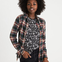 AEO Ahh-Mazingly Soft Plaid Boyfriend Shirt, Teal