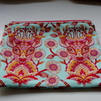 """Zipper Pouch for Coins, Knitting Notions, Toiletries, Cosmetics, Handmade with Tula Pink """"Deer Me"""" with Doe-Eyed Lining Strawberry Pink"""