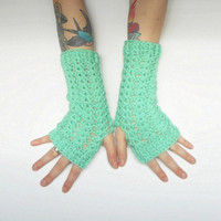 Mint Green Wrist Warmer Texting Gloves, vegan friendly, ready to ship.
