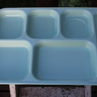 vintage lunchroom tray divided lunch tray, Vintage Dallas Ware sea foam green/mint green divided school cafeteria trays, retro kitchen