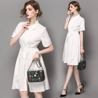 Woman cotton hollow out embroidery sleeve waist knee length work office dress
