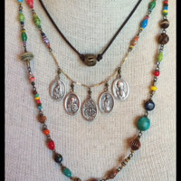 Bohemian Sol- Long African Trade Bead Necklace