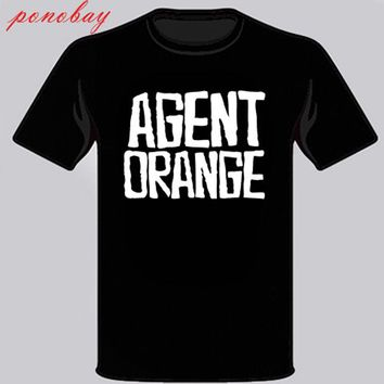 SHIRT AGENT ORANGE Punk Rock Band Men's Black T-Shirt 100% cotton casual Hipster O-Neck Cool Tops