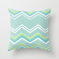 Ric-Rac-Dotty Blue And Lime Throw Pillow by ALLY COXON | Society6