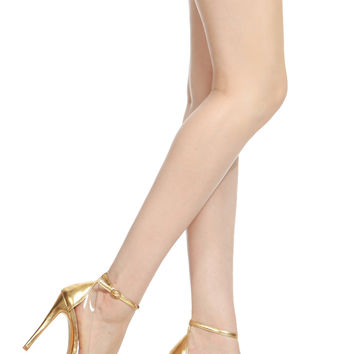 Gold Faux Leather Pointed Toe Ankle Strap Vinyl Heels