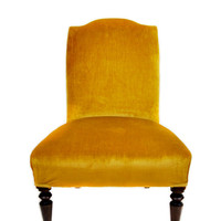 1950s Midcentury Velvet Mustard Yellow Chairs