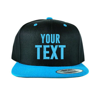 Flat Bill Black / Teal Snapback Cap