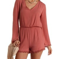 Crochet-Trim Long Sleeve Romper by Charlotte Russe