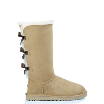 """UGG"" Women Fashion Wool Snow Boots Calfskin Shoes cute three bowknot  Sand white"