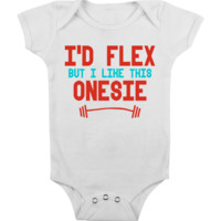 FUNNY BABY Onesuit 'I'D FLEX' [WHITE] CUTE BABY STUFF BABY CLOTHES CUSTOM BABY CLOTHES