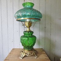 SALE Green Glass Hurricane Table Lamp, Elegant Vintage Lighting with Swirled Glass Shade