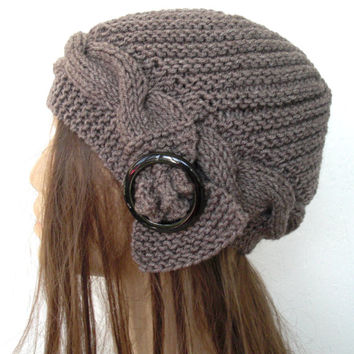 Womens Hat - Hand Knit  Winter Hat  Turban  Hat  Cloche Hat  in  taupe with  buckle  cable knit   winter Fashion Accessories Holiday fashion