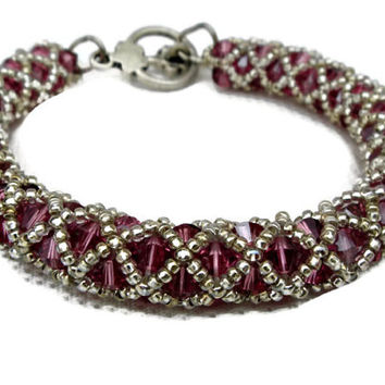 Pink tubular netting beadweave bracelet with Swarovski elements. Seed beads jewelry.