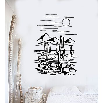 Vinyl Wall Decal Desert Cactus Plant Nature Landscapes Room Decor Stickers Mural (g895)