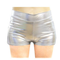Women Hight Waisted Stretchy Shiny Sexy Metallic Mini Hot Pants shorts S M L