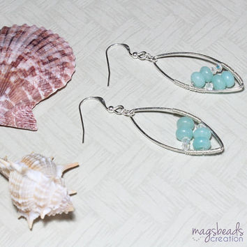 Amazonite Gemstone Beads Earrings, Ocean Blue, Aqua, Pastel Blue, Sterling Silver Handcrafted Jewellery