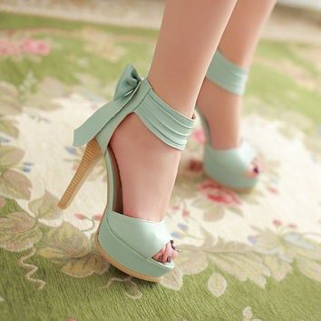 High Platform Roman Bowknot Peep Toe Sandals