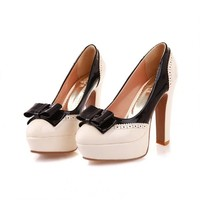 Charm Foot Fashion Bows Womens Platform High Heel Pumps Shoes