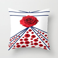 Abstract Rose Pillows English Rose Pillows with Faux Down Insert Roses Pillows Decorative Rose Pillows Floral Decorative Pillows Red Print