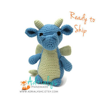 Crochet Dragon | Crochet Animals | Crochet Toy | Dragon Gift | Blue Dragon | Dragon Toy | Mythical Creature  | Ready to Ship