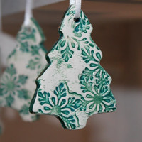 Christmas Tree Ornament Ceramic by AjoyhasSweetTreats on Etsy