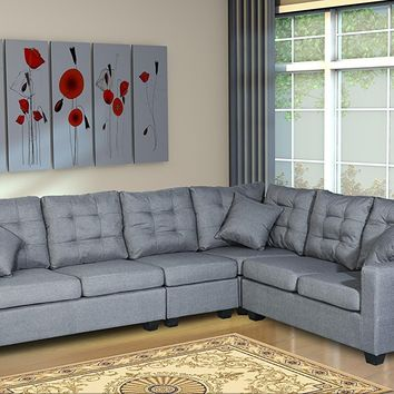 New Century® Linen Upholstered Adjustable Large Sectional Sofa, Gray