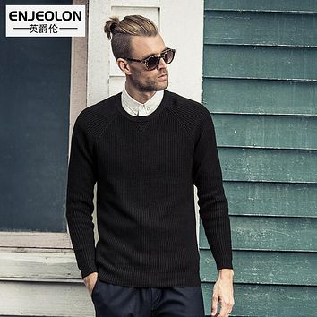 Enjeolon brand 2017 pattern Knitted pullovers Sweaters mens clothes, o-neck black cotton casual Sweater male clothing MY3031