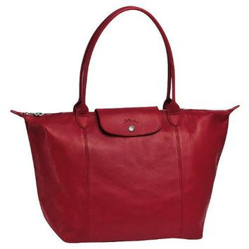 Longchamp Le Pliage Cuir Shopping Tote Red - Beauty Ticks