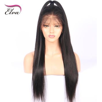 Elva Hair Glueless Full Lace Human Hair Wigs Pre Plucked Natural Hairline Straight Brazilian Remy Hair Lace Wigs