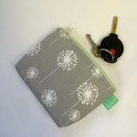 Mint Gray White Dandelion Fabric Gadget Pouch Cosmetic Bag Zipper Pouch Makeup Bag Bridesmaid Gift MTO