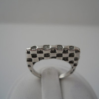 Sterling Silver 925 Flat Checkerboard Pattern Ring Thin Tall Size 6.5