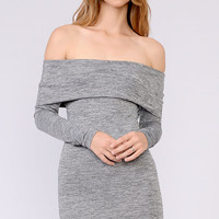 Off The Shoulder Foldover Dress