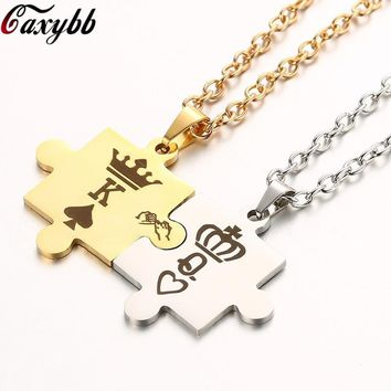 Cool Dropshipping Letters K & Q Couple Necklaces with Crown Stainless Steel Tag Pendant Necklace King & Queen  For Women MenAT_93_12