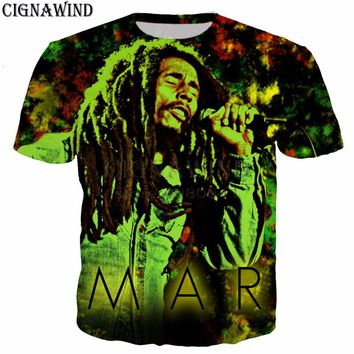 New harakuju t shirt women/men t shirts Reggae Bob Marley 3D printing men T-shirts casual men streetwear hip hop summer tops
