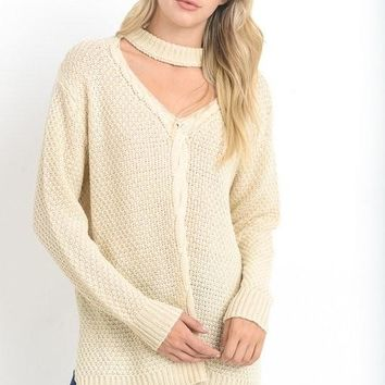 cable knit keyhole cutout mock neck sweater