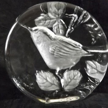 Vintage Kosta Boda Crystal Bird Paperweight, Sweden, Collectible Art Glass