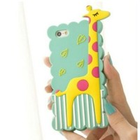 Animal Giraffe Silicone Soft Rubber Case Cover for iPhone 5 5G (Blue)