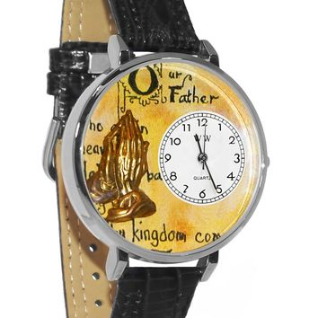 Lord's Prayer Black Skin Leather And Silvertone Watch