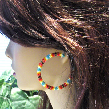 Hoop Earrings Beaded With Glass Seed Beads/Earrings/Stud Earrings/Gifts For Her/Beaded Earrings/Jewelry