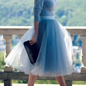 Blue Patchwork Grenadine Pleated High Waisted Tulle Skirt