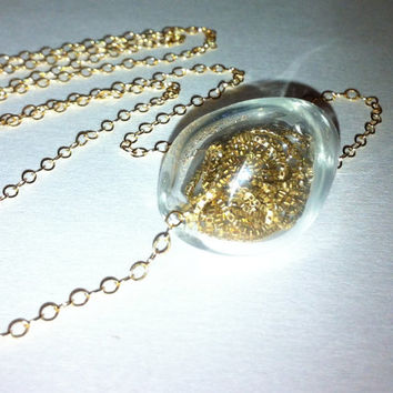 14 karat Gold Filled Glass Globe Necklace