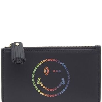 Small Rainbow Wink Circus Leather Zip Pouch