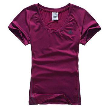 Trendsetter Adidas Woman Fashion Print Gym Sport Cotton Short Sleeve Shirt Top Blouse