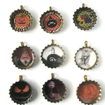 Jewellery Recycled Bottle cap Pendants Halloween Night before Christmas  Necklace