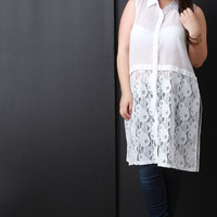 Semi-Sheer Floral Lace Sleeveless Button-Up Top